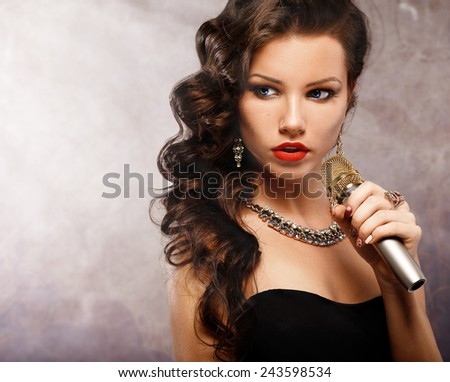 Singing Woman with Microphone. Beauty Glamour Singer Girl Portrait. Vintage Style. Karaoke Song