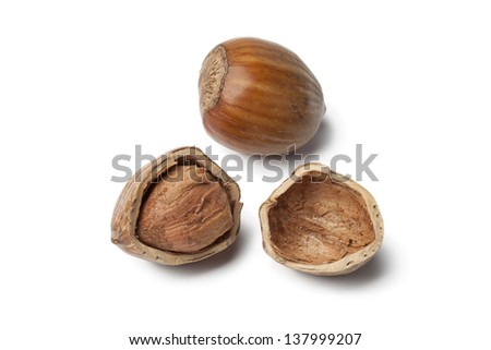 Single Hazelnut and a cracked one on white background