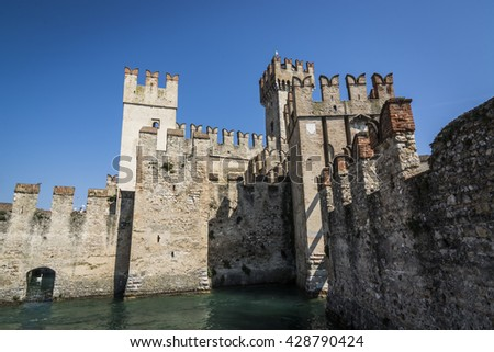 Sirmione castle in a splendid day with clear sky
