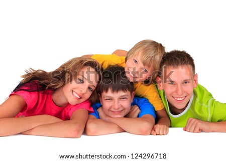 Sister and brothers having fun - stock photo