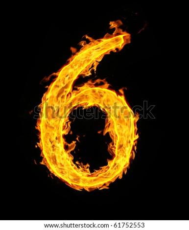 6 (six), fire figure - stock photo