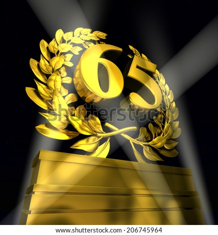 65, sixty-five number in golden letters at a pedestrial with laurel wreath - stock photo