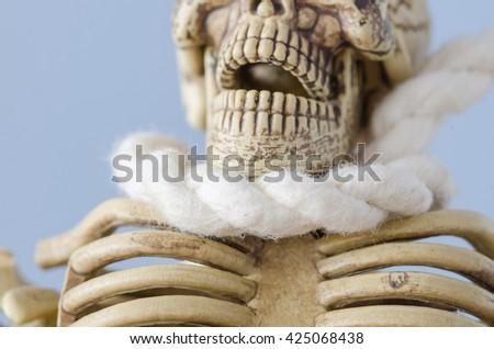 Skeleton hanging in the hangmans loop - stock photo