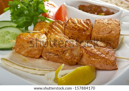 skewered salmon  .closeup