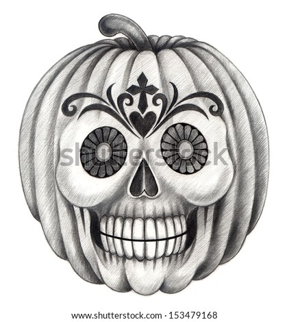 Skull pumpkin halloween. Hand drawing on paper. - stock photo