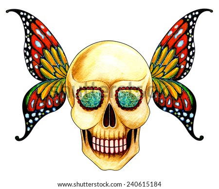 Skull wing butterfly. Hand water color painting on paper. - stock photo