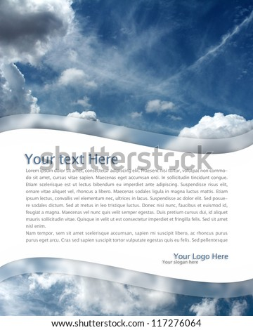 sky background and blank space in shape of wave - stock photo