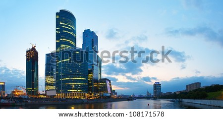 skyscrapers of Moscow city business center  in summer morning - stock photo