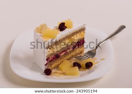 Slice of chocolate cake, selective focus - stock photo