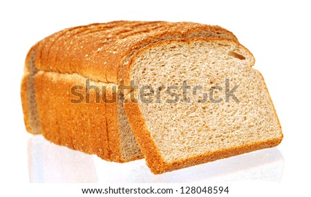 sliced of whole wheat bread isolated on white background - stock photo