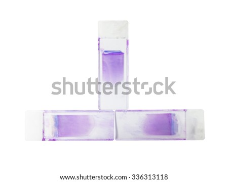 Slide blood smear on white background. - stock photo