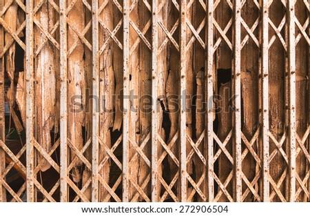 Slide door have old rusty. - stock photo
