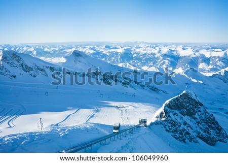 Slopes in Kitzsteinhorn ski resort near Kaprun, Austrian Alps - stock photo