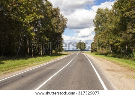 small asphalt road passing through the forest. spring
