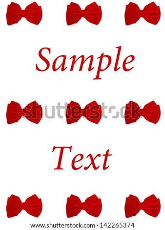 9 small bow ties card text - stock photo