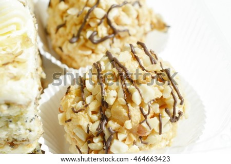 small cakes with nuts and chocolate