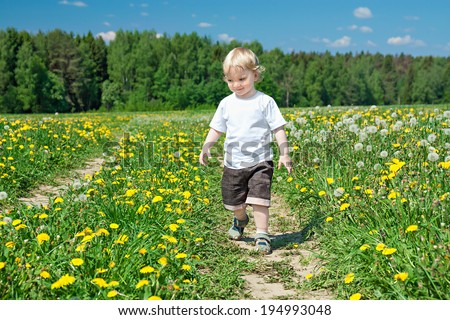 small child the boy plays on a green meadow with dandelions - stock photo