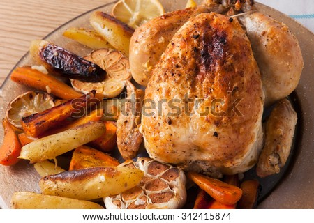 small turkey and vegetables,from above and blank space. christmas dinner or Thanksgiving Day concept