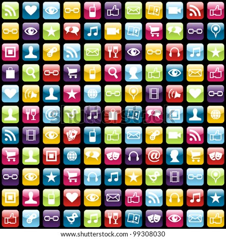Smartphone app icon set seamless pattern background.