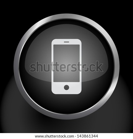 Smartphone Cell Phone Icon Symbol - Raster Version, Vector Also Available. - stock photo
