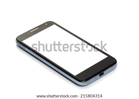 smartphone with blank screen, isolated on white background