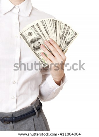 Smiley young businesswoman holding money and clock. isolated on white background - stock photo