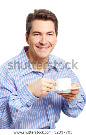 Smiling businessman with a cup. Isolated over white background