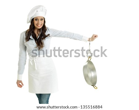 Smiling chef handcuffed to a pot - stock photo