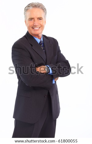 Smiling mature  businessman. Isolated over white background - stock photo