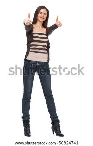 Smiling woman with a thumbs up sign isolated over white - stock photo