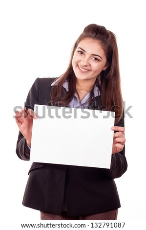 Smiling young girl showing blank