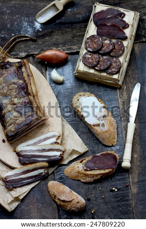 Smoked wild boar meat - stock photo