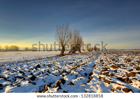 Snow covered path during winter - stock photo