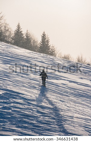 Snow-covered winter mountain slope with lonesome hiker - stock photo