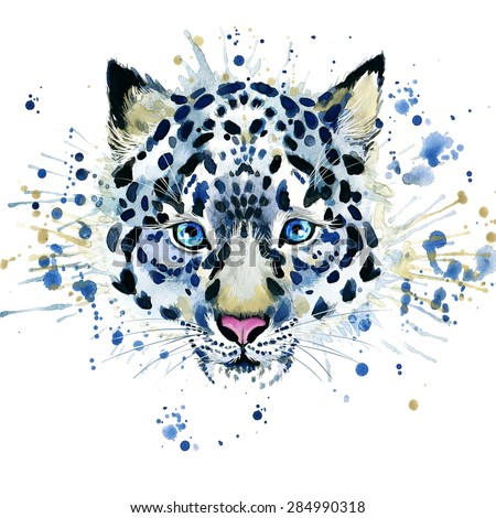 snow leopard T-shirt graphics, snow leopard illustration with splash watercolor textured background. illustration watercolor snow leopard for fashion print, poster for textiles, fashion design - stock photo