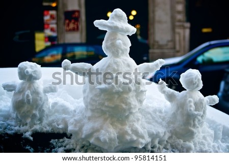 3 Snow puppets - stock photo