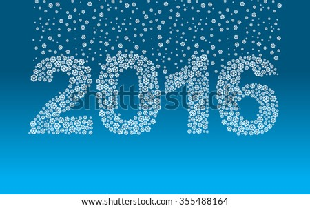 2016 snowflakes. Snow falls on the figures. New year illustration. Rooms from snow.