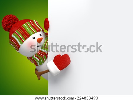 snowman behind the corner, Christmas banner, holiday background, 3d cartoon character illustration - stock photo
