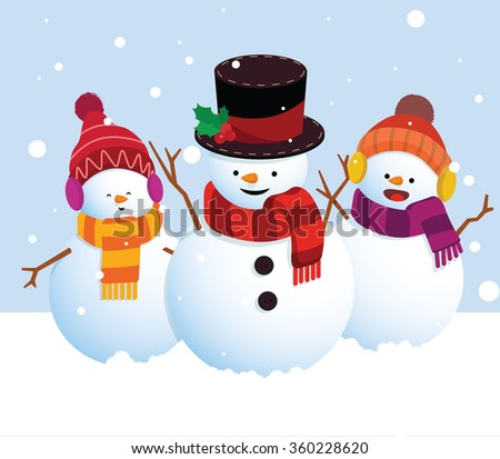 3 snowman in funny clothes with scarfs