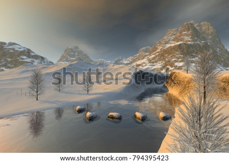 Snowy stones in the river, 3D rendering, a winter landscape, reflection on water, trees and a cloudy sky.