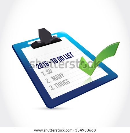 2016 so many things. to do list clipboard illustration design graphic - stock photo