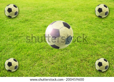 5 Soccer ball on green field