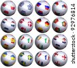 16 soccer balls with the flags. Hi-res 3D render on white with clipping path, detailed flags, and subtle texture. 1 row per group - stock photo