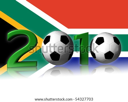 2010 soccer logo with south africa flag in background - stock photo