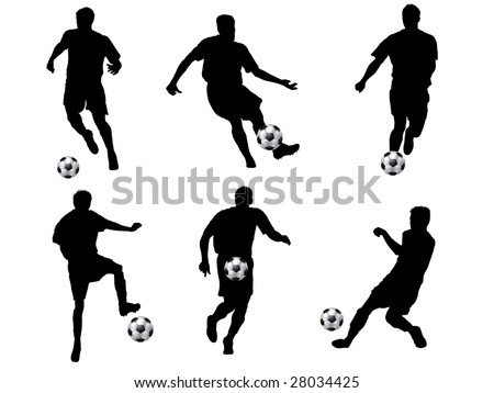6 soccer silhouettes