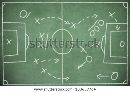 soccer tactics drawing on chalkboard - stock photo
