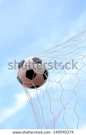Soccerball in net - stock photo