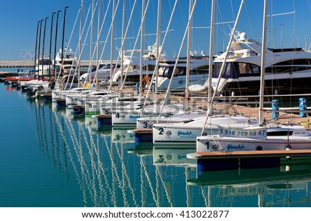 Sochi, Russia - February 9, 2016: Racing yacht in the port of Sochi on a sunny day