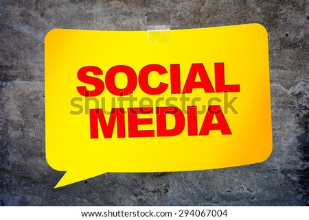 """Social media"" in the yellow banner textural background. Design template. - stock photo"
