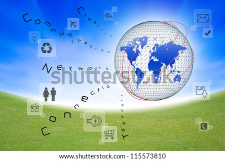 Social network and communication in the global computer networks - stock photo